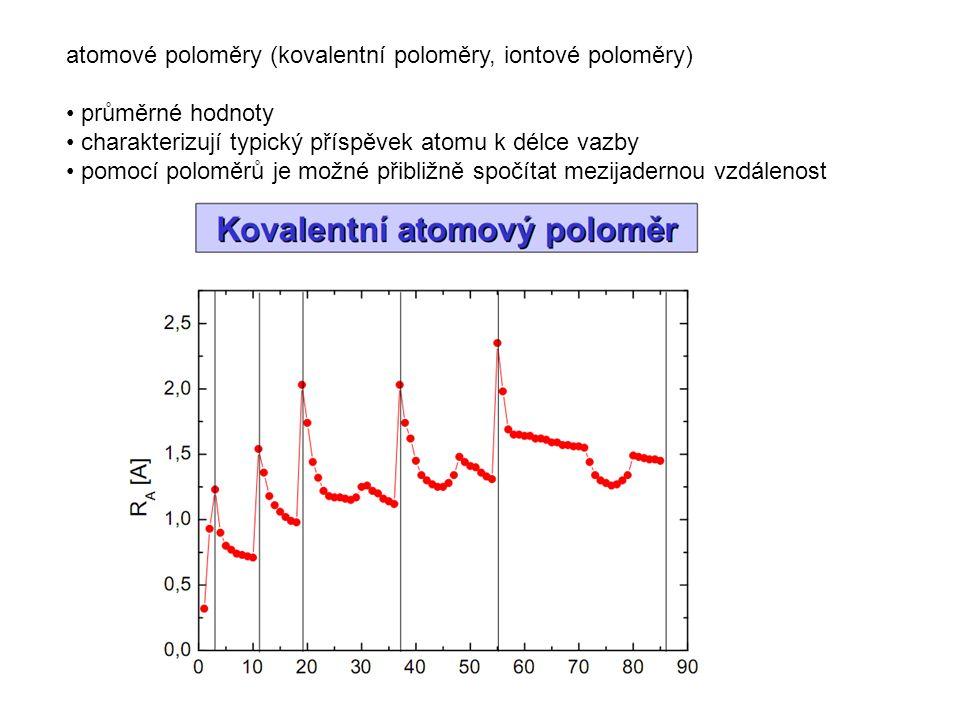 atomové poloměry (kovalentní poloměry, iontové poloměry) průměrné hodnoty charakterizují typický příspěvek atomu k délce vazby pomocí poloměrů je možn