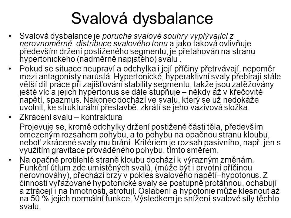 Svalová dysbalance Svalová dysbalance je porucha svalové souhry vyplývající z nerovnoměrné distribuce svalového tonu a jako taková ovlivňuje především