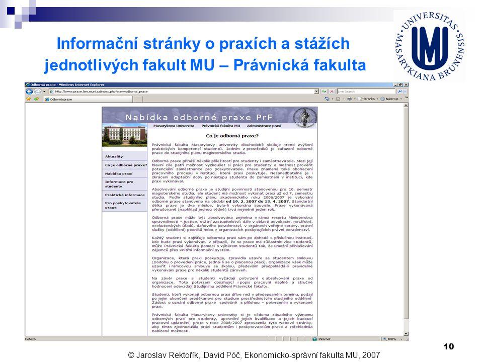 10 Informační stránky o praxích a stážích jednotlivých fakult MU – Právnická fakulta © Jaroslav Rektořík, David Póč, Ekonomicko-správní fakulta MU, 20