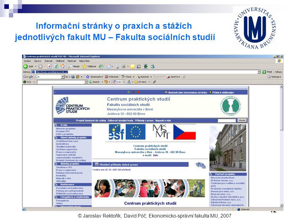 12 Informační stránky o praxích a stážích jednotlivých fakult MU – Fakulta sociálních studií © Jaroslav Rektořík, David Póč, Ekonomicko-správní fakult