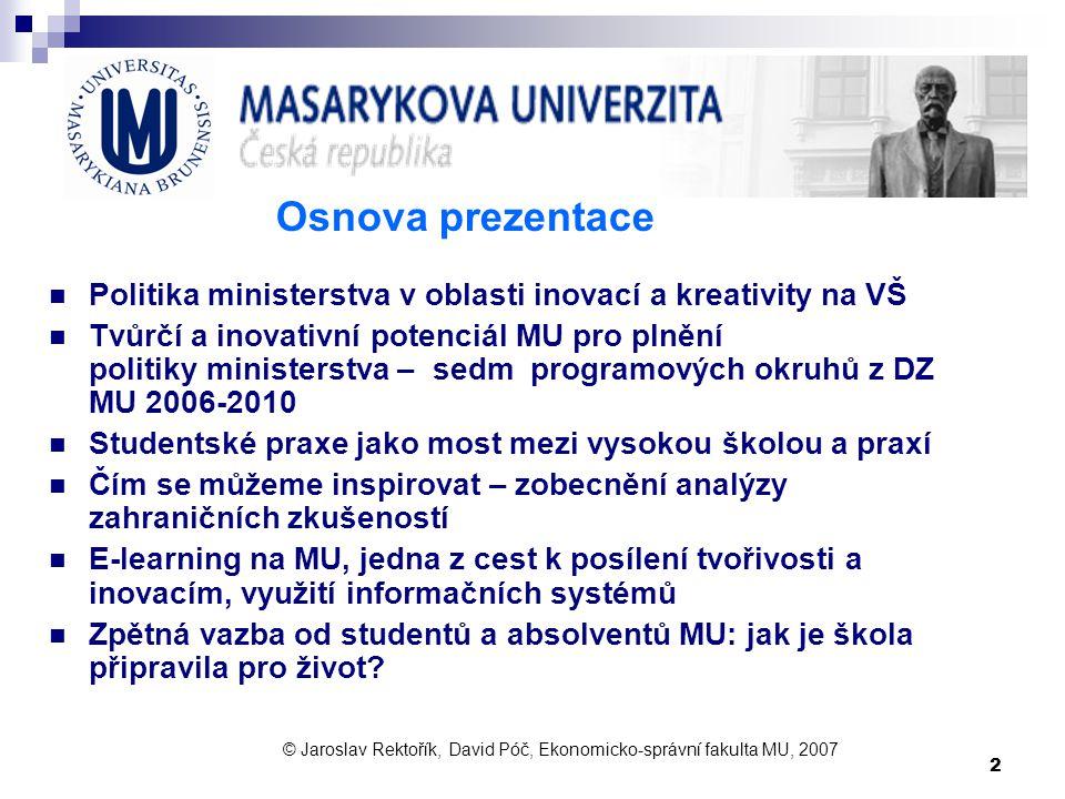 2 Osnova prezentace Politika ministerstva v oblasti inovací a kreativity na VŠ Tvůrčí a inovativní potenciál MU pro plnění politiky ministerstva – sed