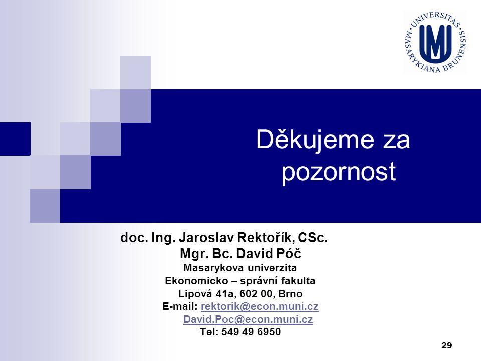 29 Děkujeme za pozornost doc. Ing. Jaroslav Rektořík, CSc. Mgr. Bc. David Póč Masarykova univerzita Ekonomicko – správní fakulta Lipová 41a, 602 00, B