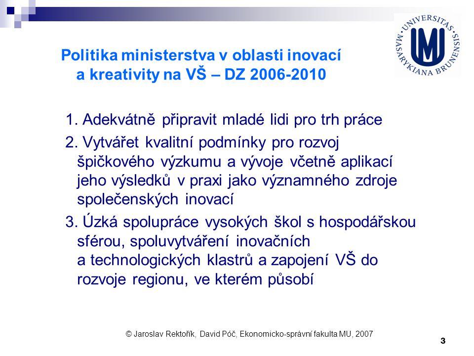 3 Politika ministerstva v oblasti inovací a kreativity na VŠ – DZ 2006-2010 1. Adekvátně připravit mladé lidi pro trh práce 2. Vytvářet kvalitní podmí