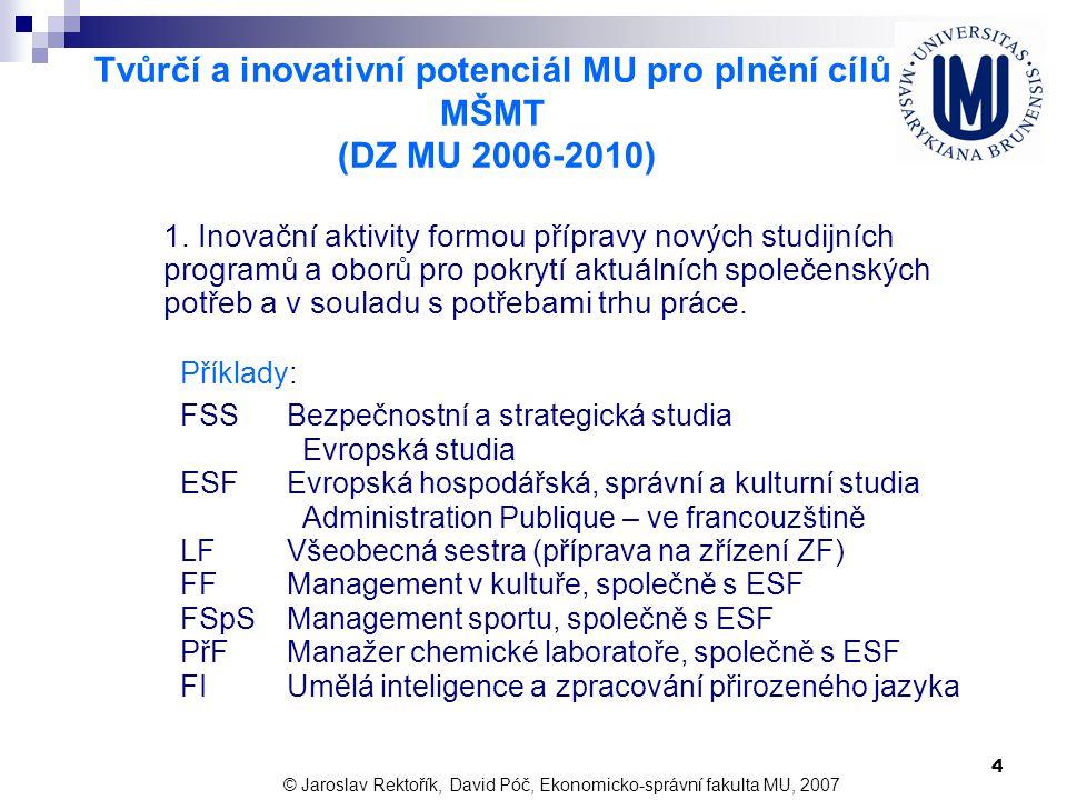 4 Tvůrčí a inovativní potenciál MU pro plnění cílů MŠMT (DZ MU 2006-2010) Příklady: FSSBezpečnostní a strategická studia Evropská studia ESFEvropská h
