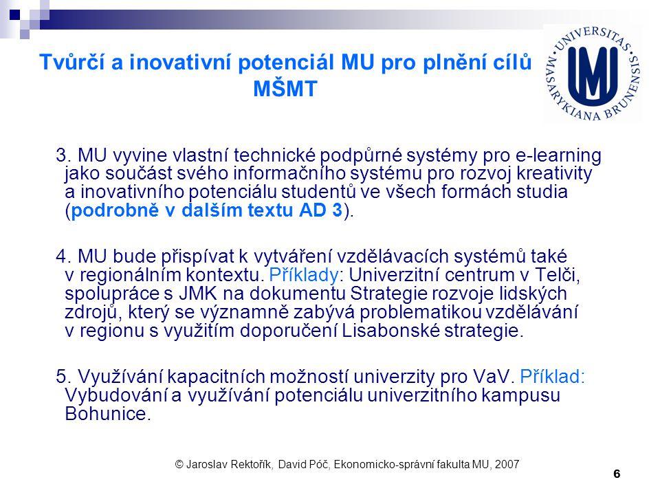 6 Tvůrčí a inovativní potenciál MU pro plnění cílů MŠMT 3. MU vyvine vlastní technické podpůrné systémy pro e-learning jako součást svého informačního
