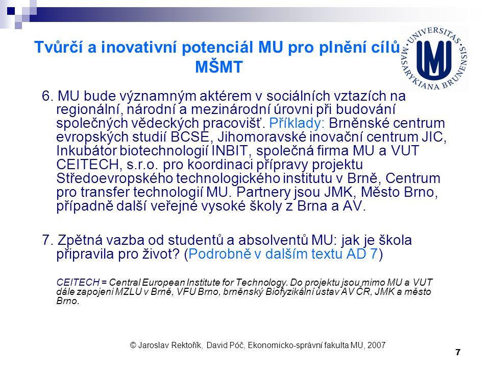 7 Tvůrčí a inovativní potenciál MU pro plnění cílů MŠMT 6. MU bude významným aktérem v sociálních vztazích na regionální, národní a mezinárodní úrovni