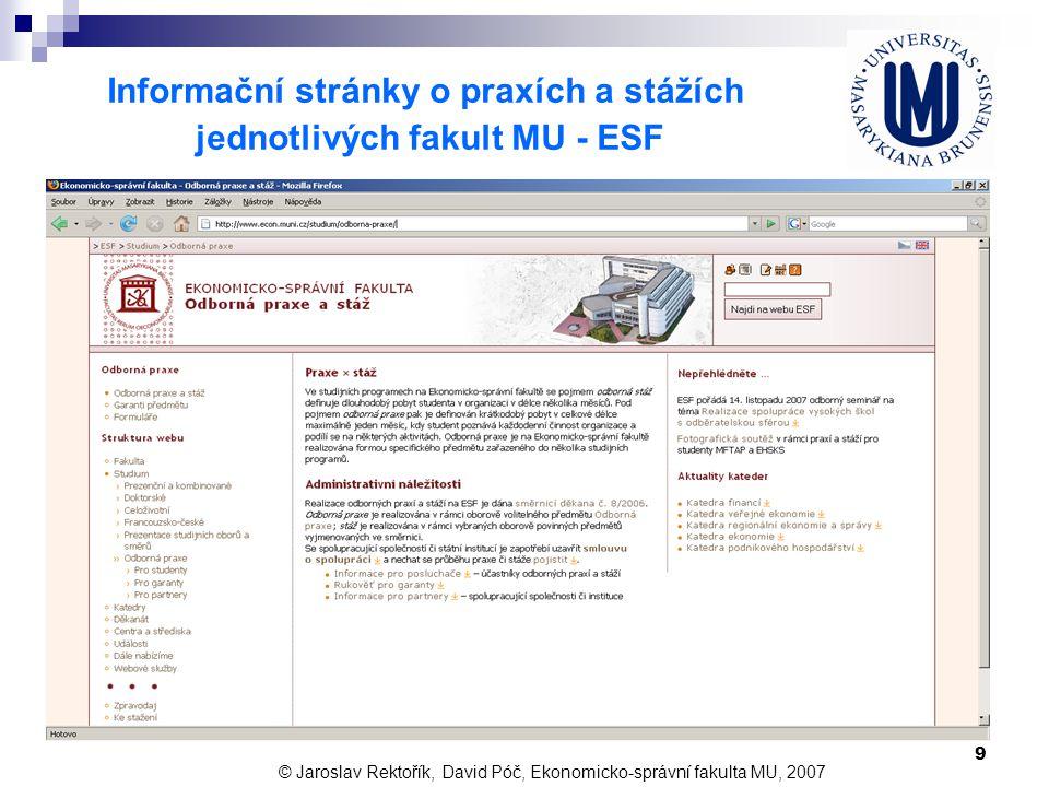 10 Informační stránky o praxích a stážích jednotlivých fakult MU – Právnická fakulta © Jaroslav Rektořík, David Póč, Ekonomicko-správní fakulta MU, 2007