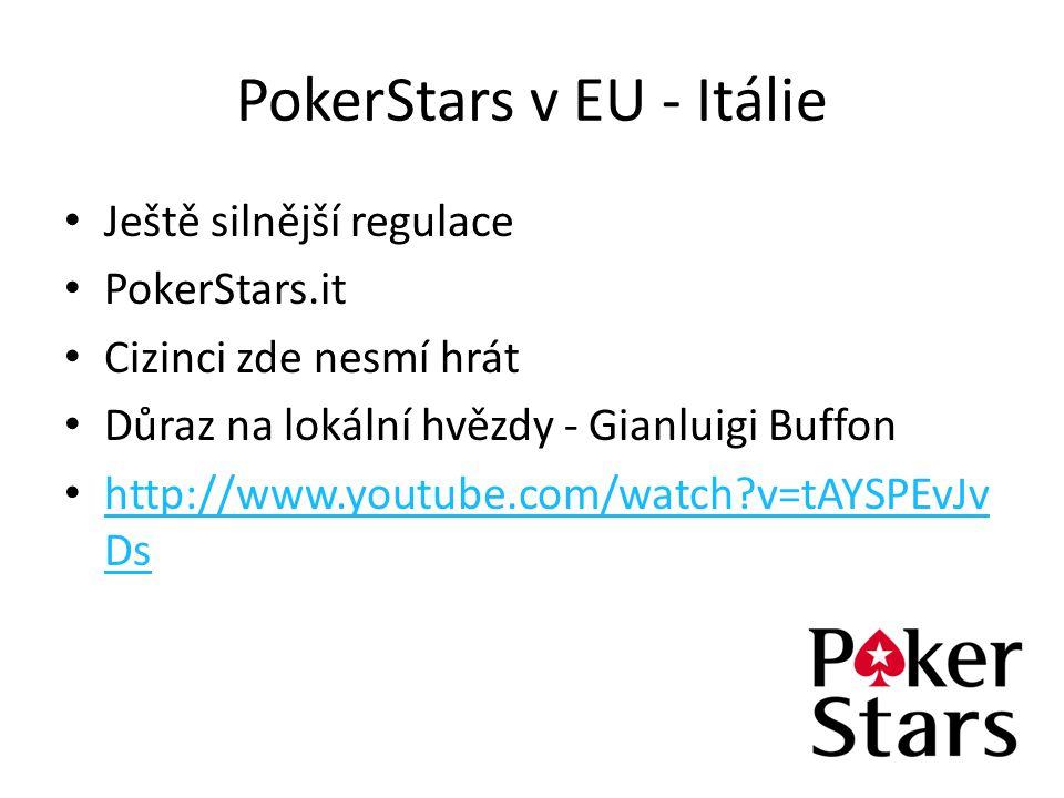 PokerStars v EU - Itálie Ještě silnější regulace PokerStars.it Cizinci zde nesmí hrát Důraz na lokální hvězdy - Gianluigi Buffon http://www.youtube.co