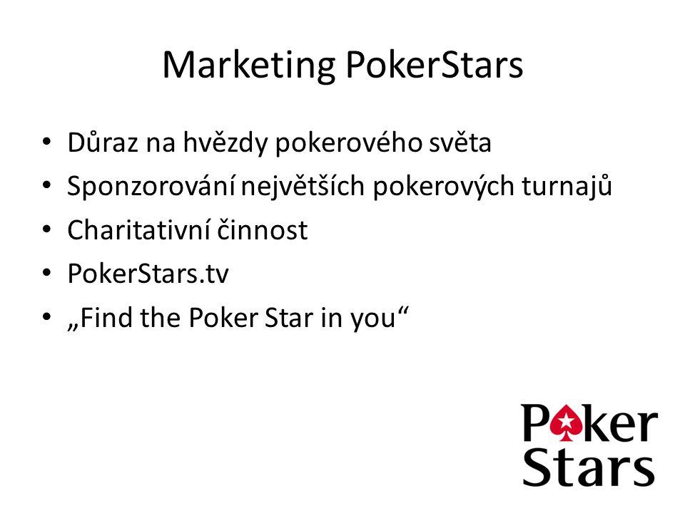 """Marketing PokerStars Důraz na hvězdy pokerového světa Sponzorování největších pokerových turnajů Charitativní činnost PokerStars.tv """"Find the Poker St"""