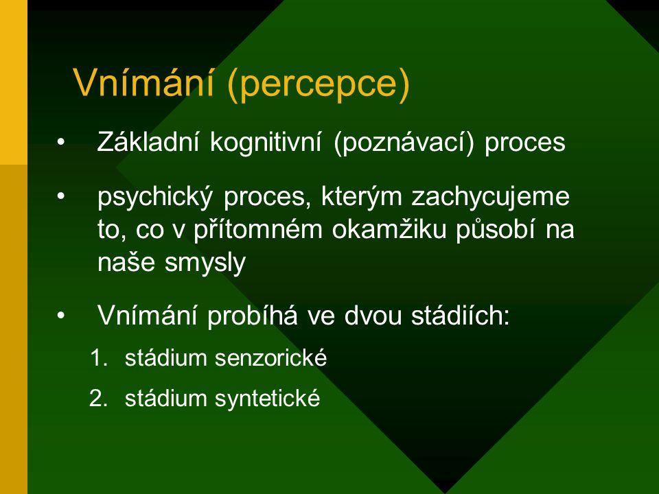 Vnímání (percepce) Základní kognitivní (poznávací) proces psychický proces, kterým zachycujeme to, co v přítomném okamžiku působí na naše smysly Vnímá