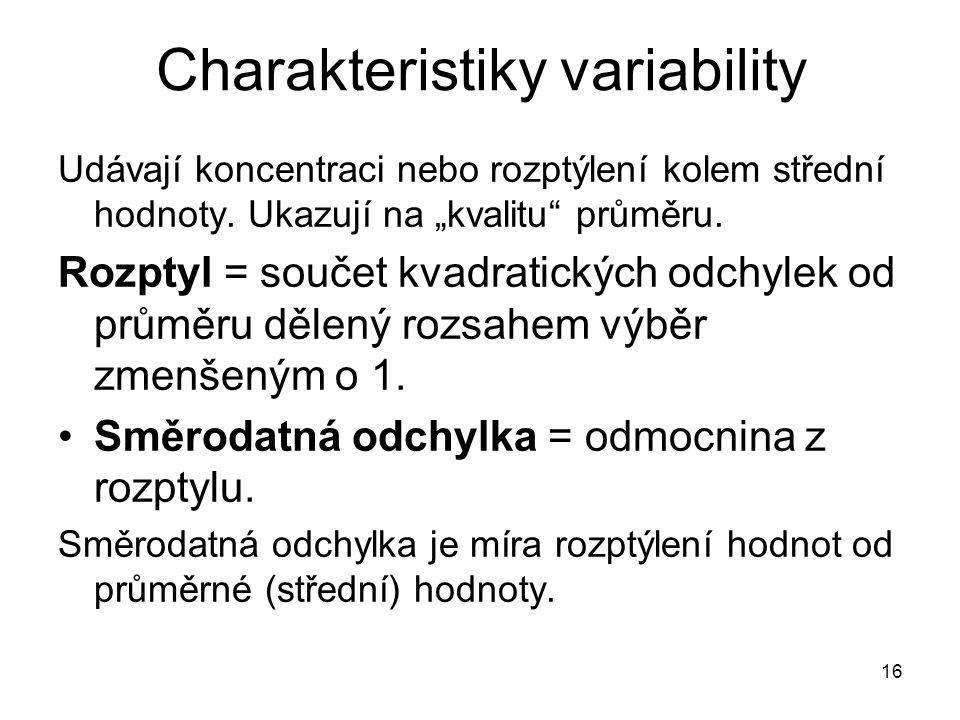 """16 Charakteristiky variability Udávají koncentraci nebo rozptýlení kolem střední hodnoty. Ukazují na """"kvalitu"""" průměru. Rozptyl = součet kvadratických"""