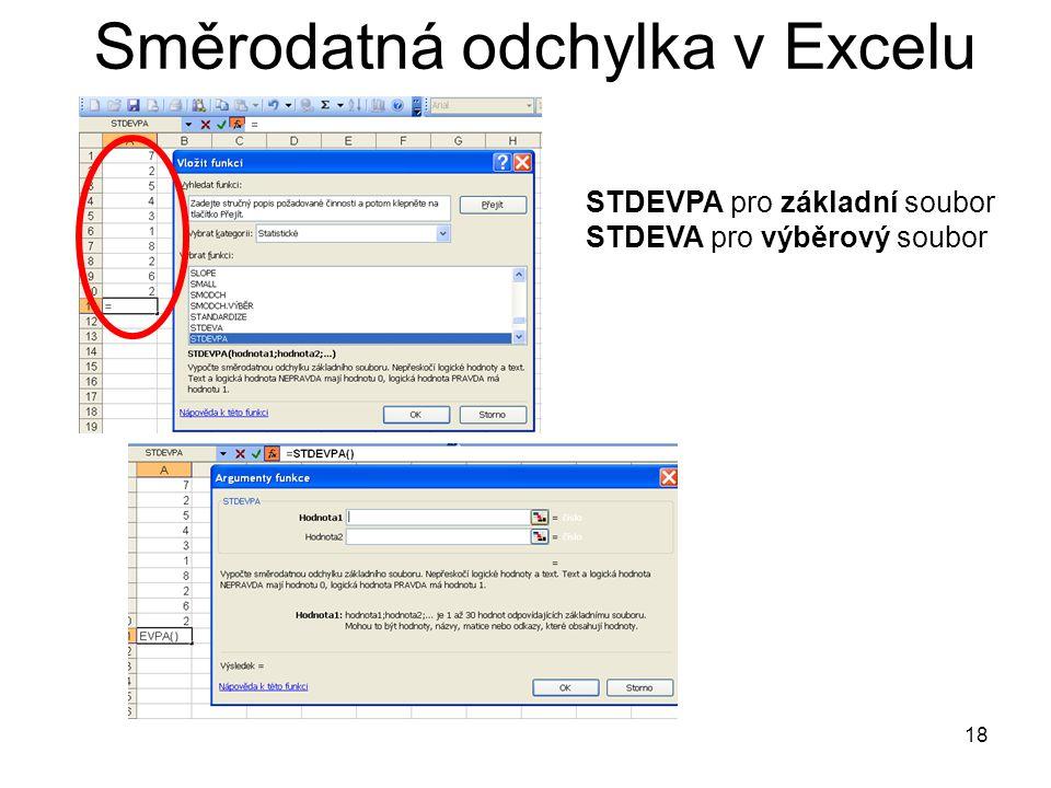 18 Směrodatná odchylka v Excelu STDEVPA pro základní soubor STDEVA pro výběrový soubor