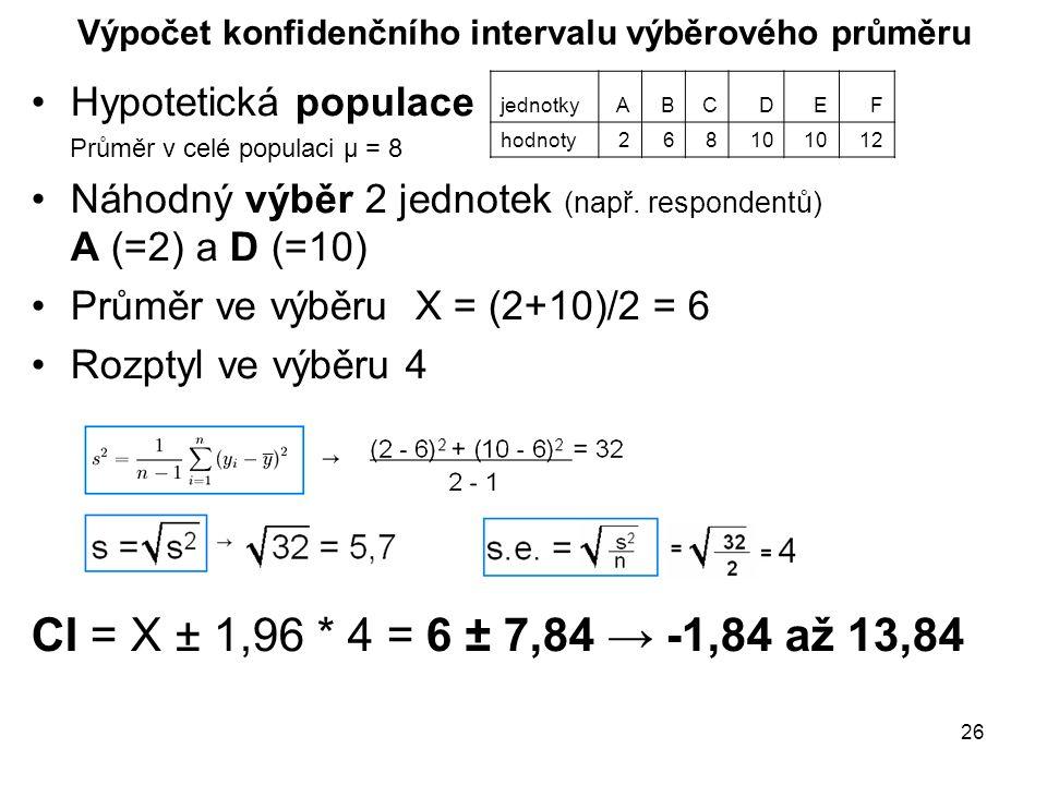26 Výpočet konfidenčního intervalu výběrového průměru Hypotetická populace Průměr v celé populaci μ = 8 Náhodný výběr 2 jednotek (např.