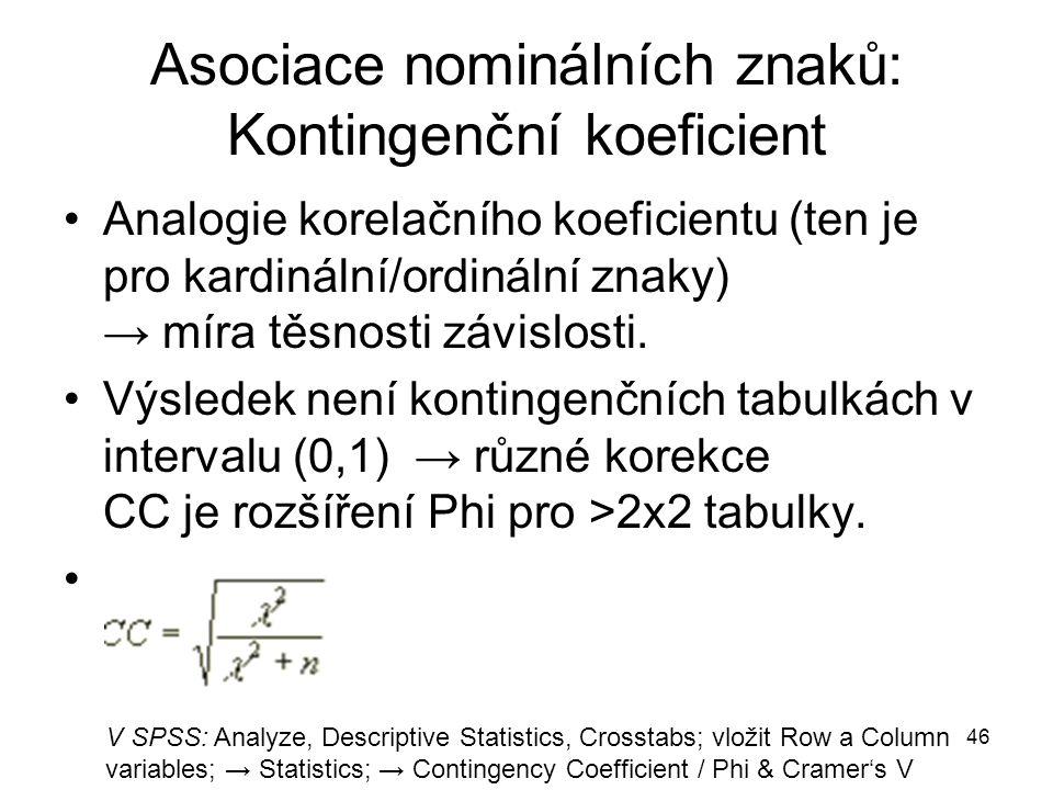 46 Asociace nominálních znaků: Kontingenční koeficient Analogie korelačního koeficientu (ten je pro kardinální/ordinální znaky) → míra těsnosti závislosti.