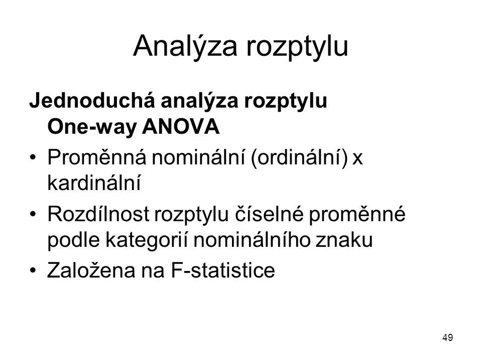 49 Analýza rozptylu Jednoduchá analýza rozptylu One-way ANOVA Proměnná nominální (ordinální) x kardinální Rozdílnost rozptylu číselné proměnné podle k