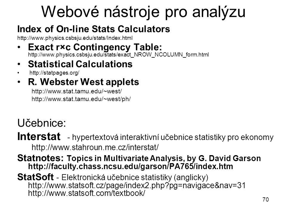 70 Webové nástroje pro analýzu Index of On-line Stats Calculators http://www.physics.csbsju.edu/stats/Index.html Exact r×c Contingency Table: http://w