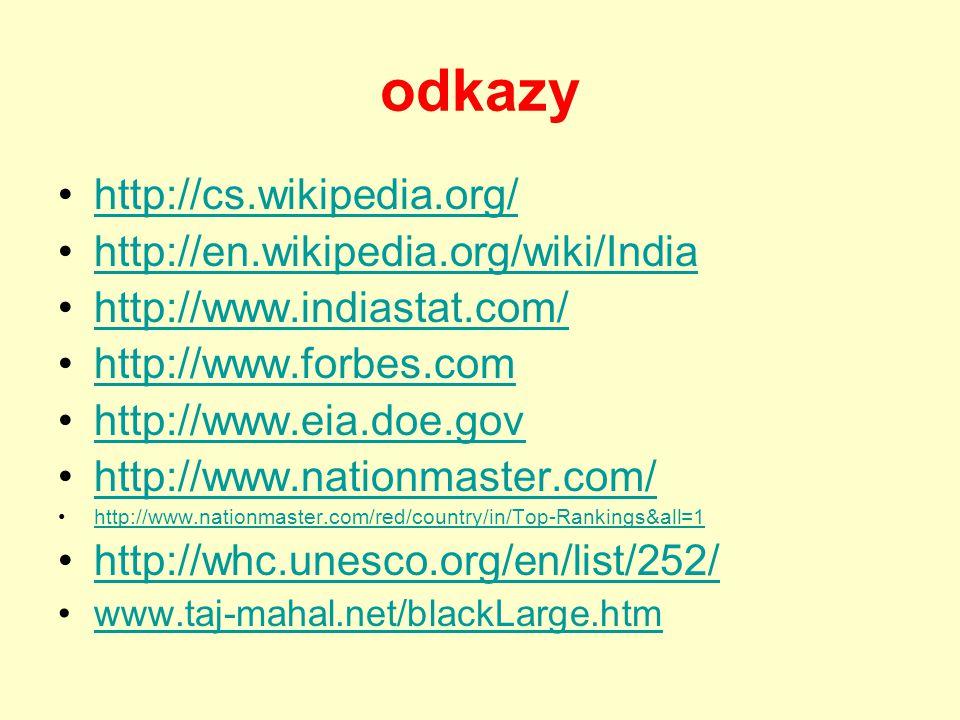 odkazy http://cs.wikipedia.org/ http://en.wikipedia.org/wiki/India http://www.indiastat.com/ http://www.forbes.com http://www.eia.doe.gov http://www.nationmaster.com/ http://www.nationmaster.com/red/country/in/Top-Rankings&all=1 http://whc.unesco.org/en/list/252/ www.taj-mahal.net/blackLarge.htm