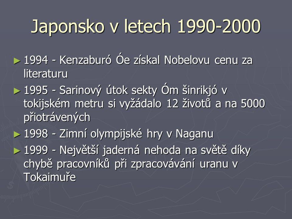 Japonsko v letech 1990-2000 ► 1994 - Kenzaburó Óe získal Nobelovu cenu za literaturu ► 1995 - Sarinový útok sekty Óm šinrikjó v tokijském metru si vyž