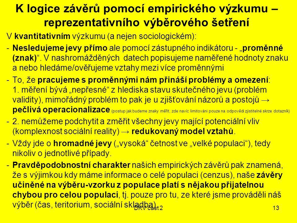 """DKV část 213 K logice závěrů pomocí empirického výzkumu – reprezentativního výběrového šetření V kvantitativním výzkumu (a nejen sociologickém): -Nesledujeme jevy přímo ale pomocí zástupného indikátoru - """"proměnné (znak) ."""