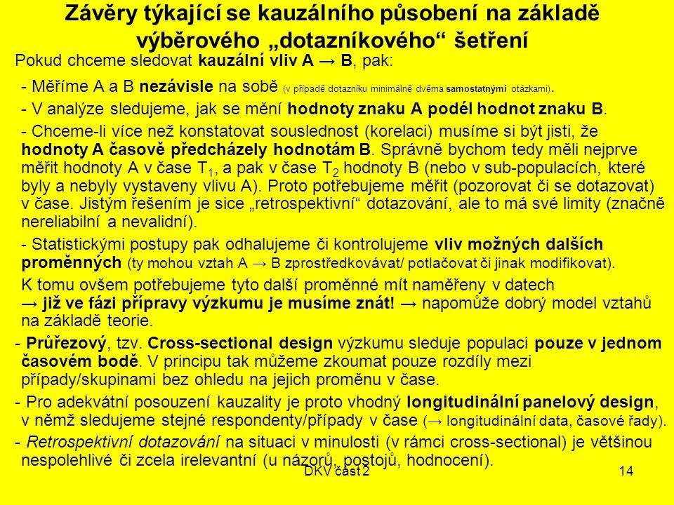 """DKV část 214 Závěry týkající se kauzálního působení na základě výběrového """"dotazníkového"""" šetření Pokud chceme sledovat kauzální vliv A → B, pak: - Mě"""