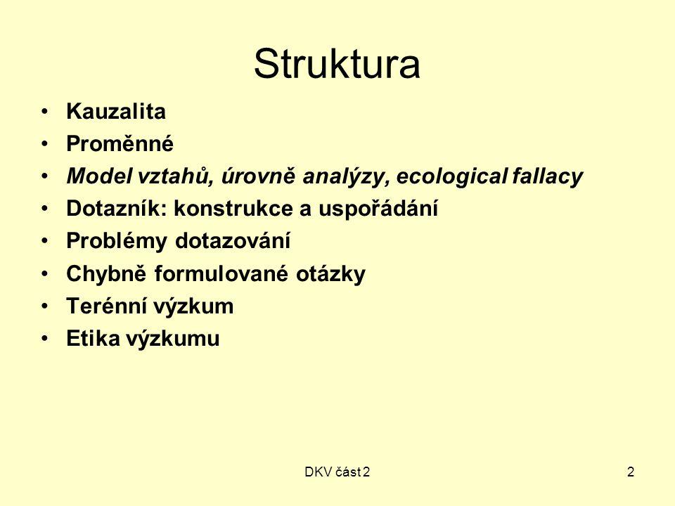 DKV část 22 Struktura Kauzalita Proměnné Model vztahů, úrovně analýzy, ecological fallacy Dotazník: konstrukce a uspořádání Problémy dotazování Chybně formulované otázky Terénní výzkum Etika výzkumu