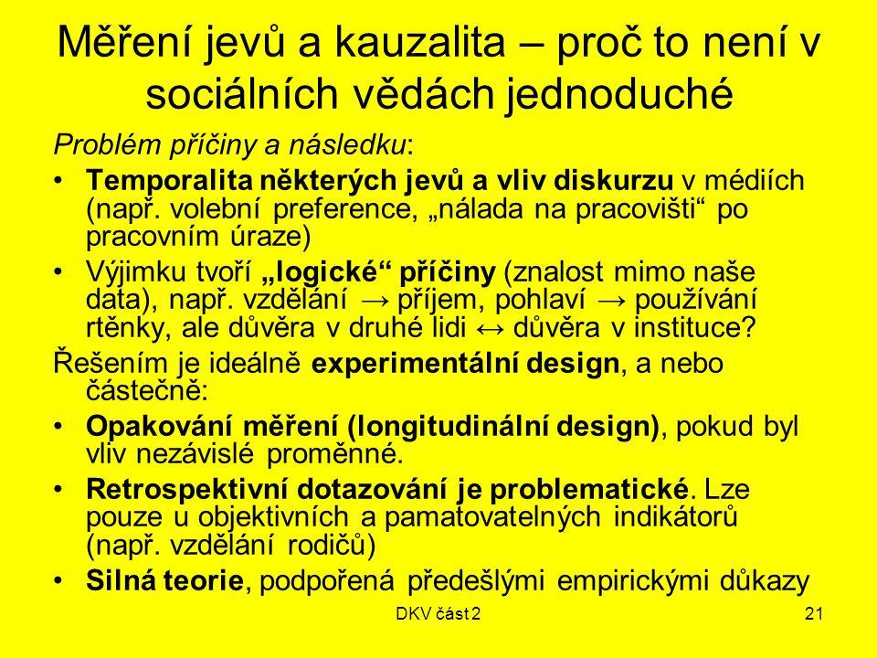 DKV část 221 Měření jevů a kauzalita – proč to není v sociálních vědách jednoduché Problém příčiny a následku: Temporalita některých jevů a vliv diskurzu v médiích (např.