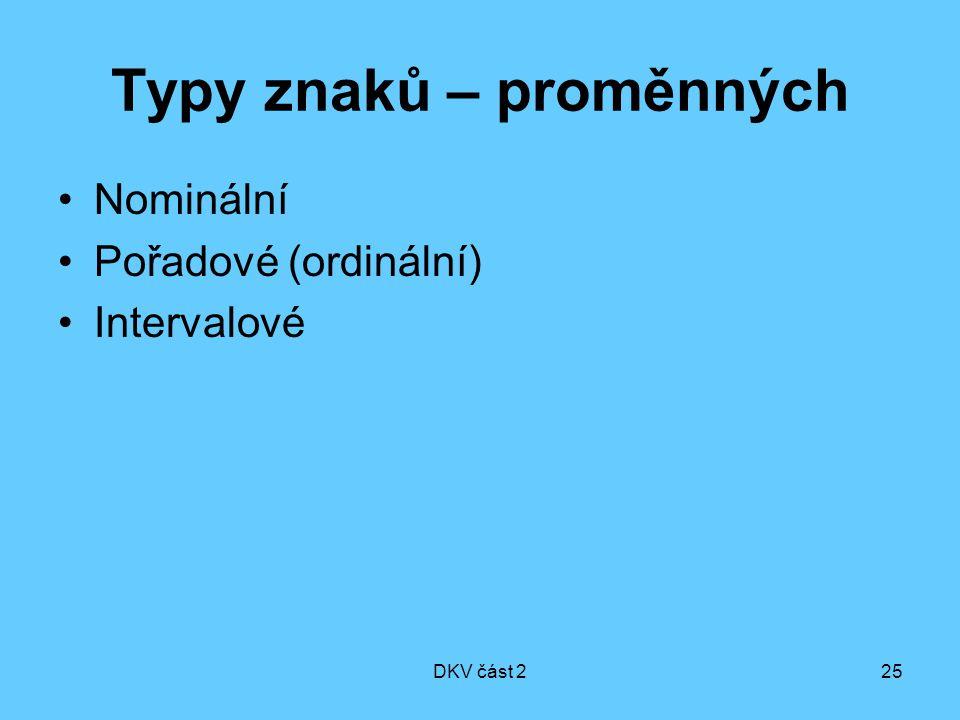 DKV část 225 Typy znaků – proměnných Nominální Pořadové (ordinální) Intervalové