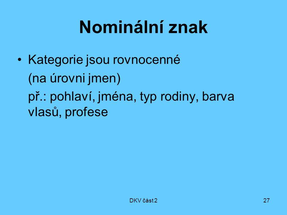 DKV část 227 Nominální znak Kategorie jsou rovnocenné (na úrovni jmen) př.: pohlaví, jména, typ rodiny, barva vlasů, profese