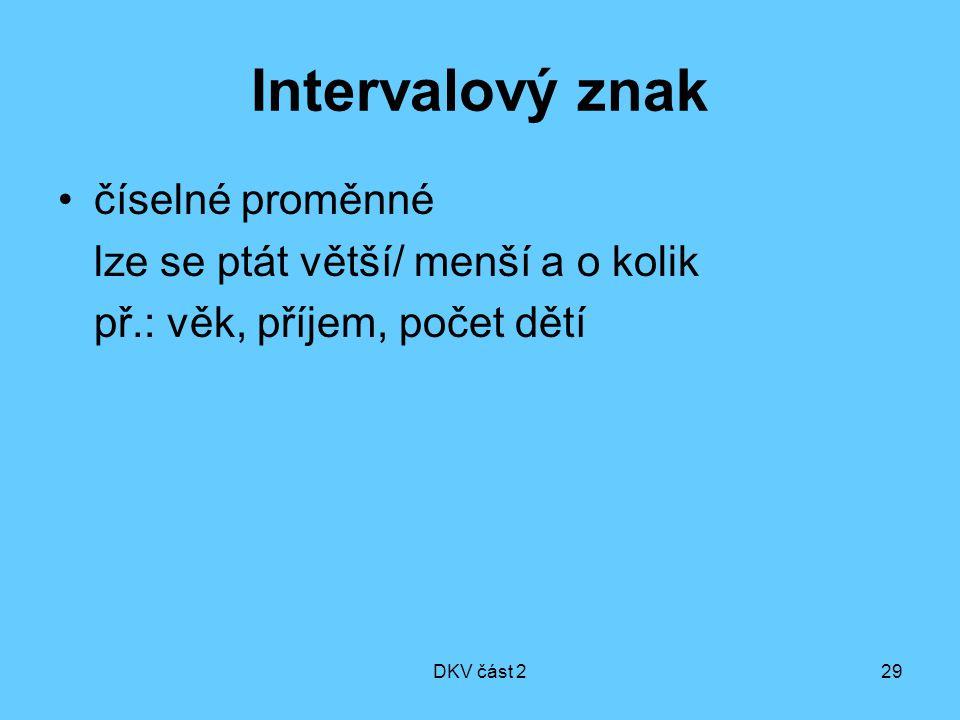 DKV část 229 Intervalový znak číselné proměnné lze se ptát větší/ menší a o kolik př.: věk, příjem, počet dětí