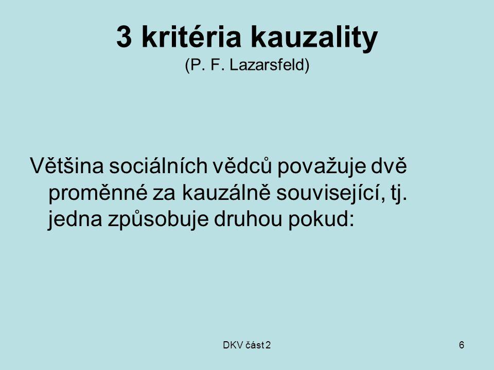 DKV část 26 3 kritéria kauzality (P. F. Lazarsfeld) Většina sociálních vědců považuje dvě proměnné za kauzálně související, tj. jedna způsobuje druhou