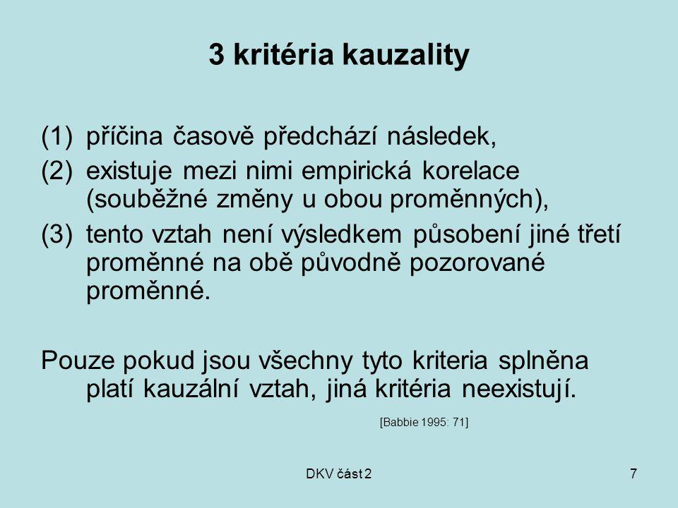 DKV část 27 3 kritéria kauzality (1)příčina časově předchází následek, (2)existuje mezi nimi empirická korelace (souběžné změny u obou proměnných), (3)tento vztah není výsledkem působení jiné třetí proměnné na obě původně pozorované proměnné.