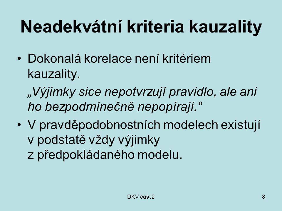 """DKV část 28 Neadekvátní kriteria kauzality Dokonalá korelace není kritériem kauzality. """"Výjimky sice nepotvrzují pravidlo, ale ani ho bezpodmínečně ne"""