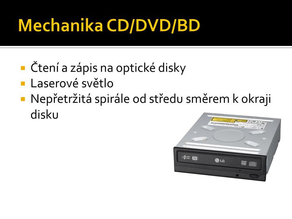  Čtení a zápis na optické disky  Laserové světlo  Nepřetržitá spirále od středu směrem k okraji disku
