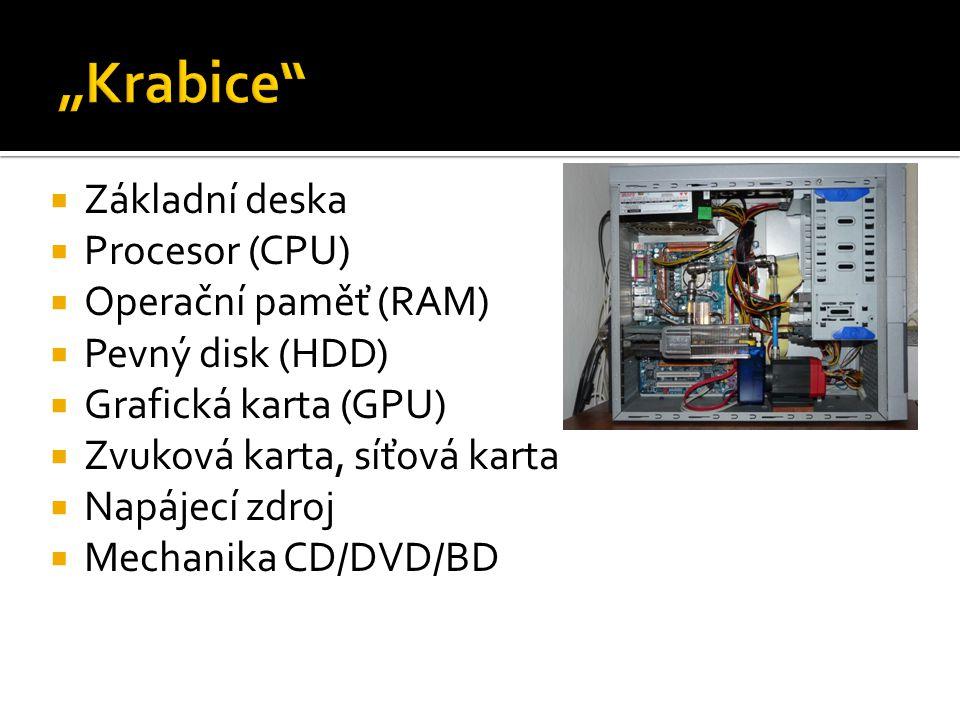  Základní deska  Procesor (CPU)  Operační paměť (RAM)  Pevný disk (HDD)  Grafická karta (GPU)  Zvuková karta, síťová karta  Napájecí zdroj  Mechanika CD/DVD/BD