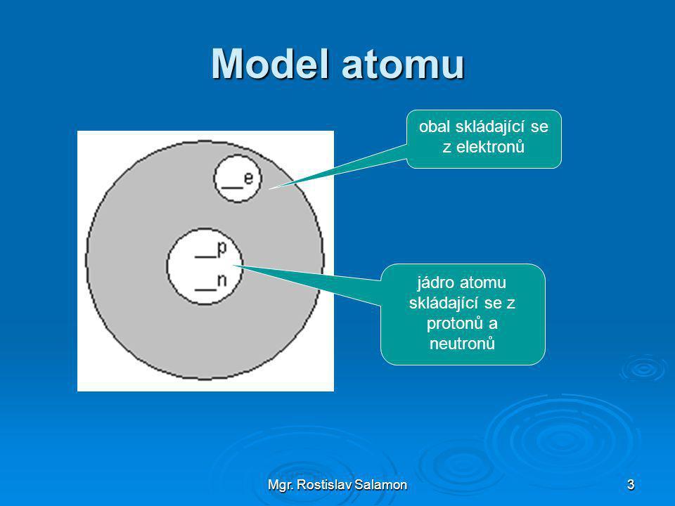 Mgr. Rostislav Salamon3 Model atomu jádro atomu skládající se z protonů a neutronů obal skládající se z elektronů