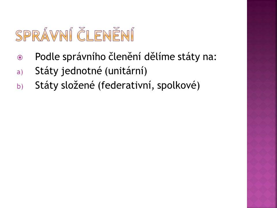  Podle správního členění dělíme státy na: a) Státy jednotné (unitární) b) Státy složené (federativní, spolkové)