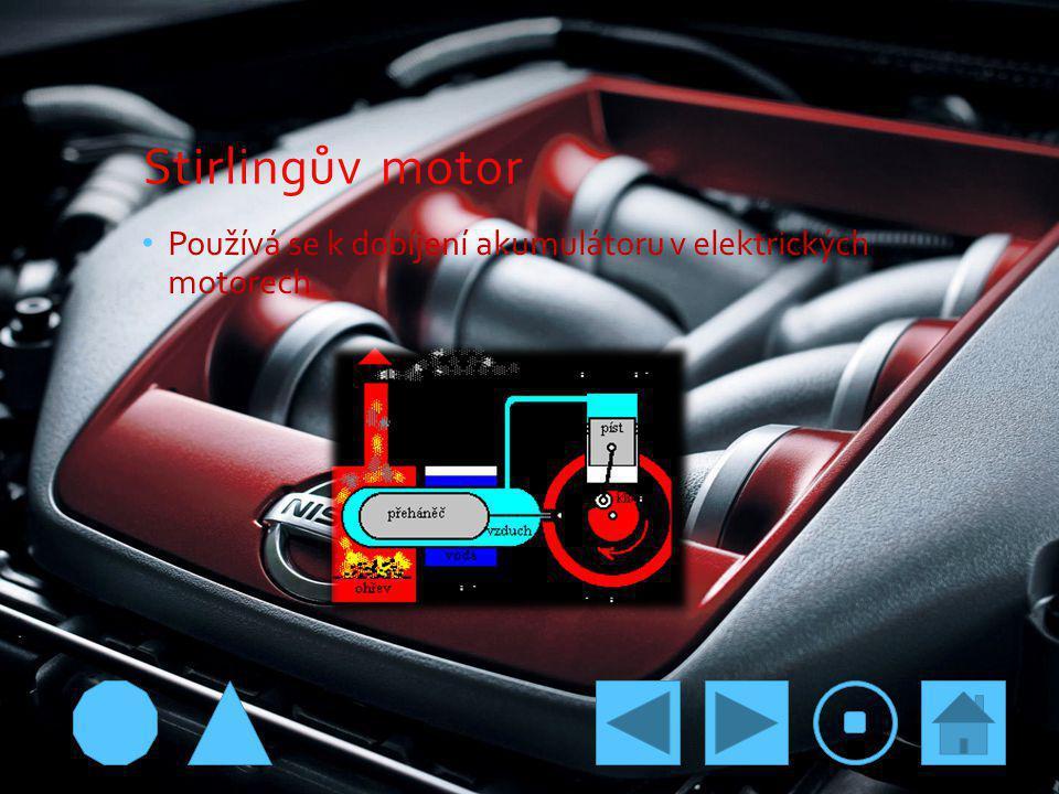 Stirlingův motor Používá se k dobíjení akumulátoru v elektrických motorech