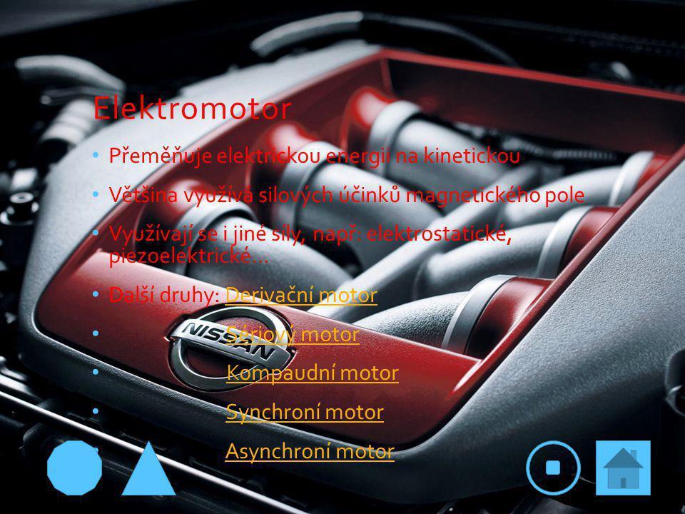 Elektromotor Přeměňuje elektrickou energii na kinetickou Většina využívá silových účinků magnetického pole Využívají se i jiné síly, např: elektrostatické, piezoelektrické… Další druhy: Derivační motorDerivační motor Sériový motor Kompaudní motor Synchroní motor Asynchroní motor
