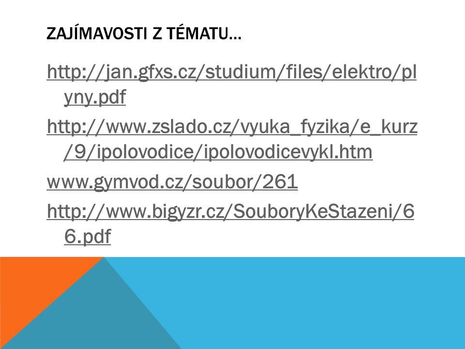 ZAJÍMAVOSTI Z TÉMATU… http://jan.gfxs.cz/studium/files/elektro/pl yny.pdf http://www.zslado.cz/vyuka_fyzika/e_kurz /9/ipolovodice/ipolovodicevykl.htm www.gymvod.cz/soubor/261 http://www.bigyzr.cz/SouboryKeStazeni/6 6.pdf
