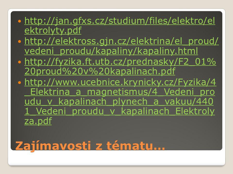 Zajímavosti z tématu… http://jan.gfxs.cz/studium/files/elektro/el ektrolyty.pdf http://jan.gfxs.cz/studium/files/elektro/el ektrolyty.pdf http://elekt