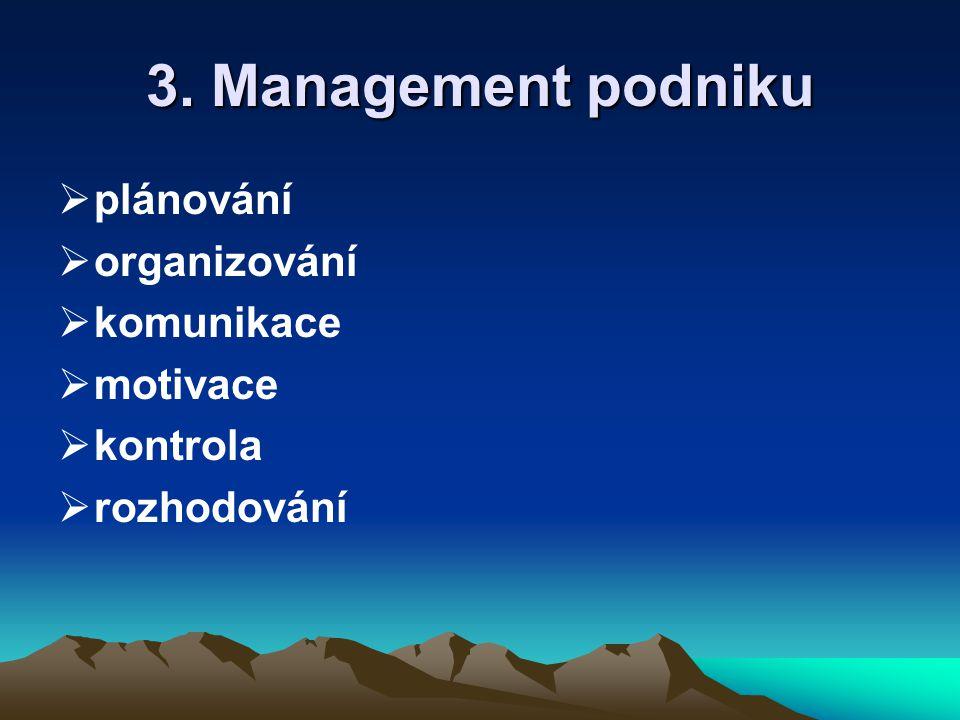 3. Management podniku  plánování  organizování  komunikace  motivace  kontrola  rozhodování