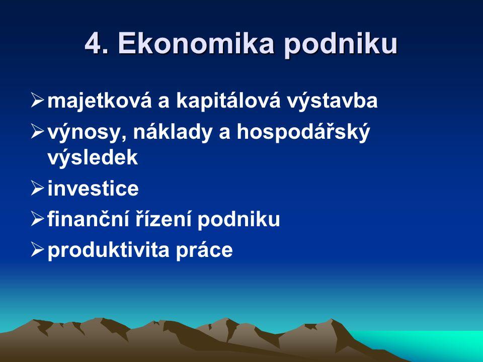 4. Ekonomika podniku  majetková a kapitálová výstavba  výnosy, náklady a hospodářský výsledek  investice  finanční řízení podniku  produktivita p