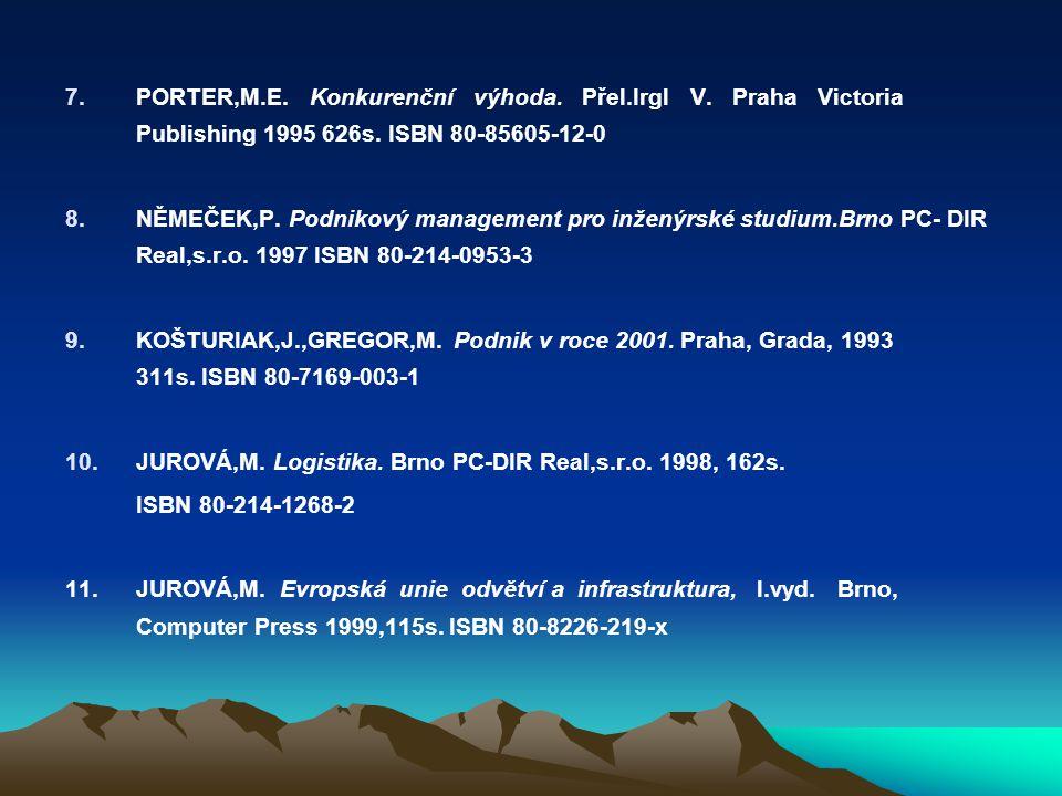 7.PORTER,M.E. Konkurenční výhoda. Přel.Irgl V. Praha Victoria Publishing 1995 626s. ISBN 80-85605-12-0 8.NĚMEČEK,P. Podnikový management pro inženýrsk