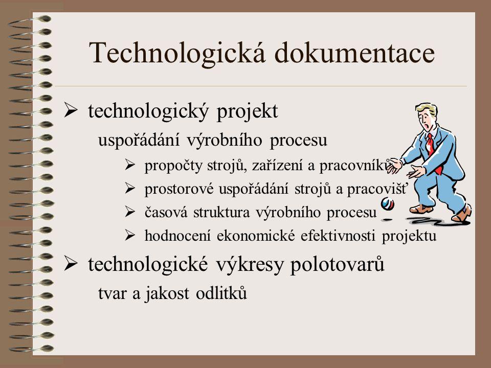 Technologická dokumentace  technologický projekt uspořádání výrobního procesu  propočty strojů, zařízení a pracovníků  prostorové uspořádání strojů