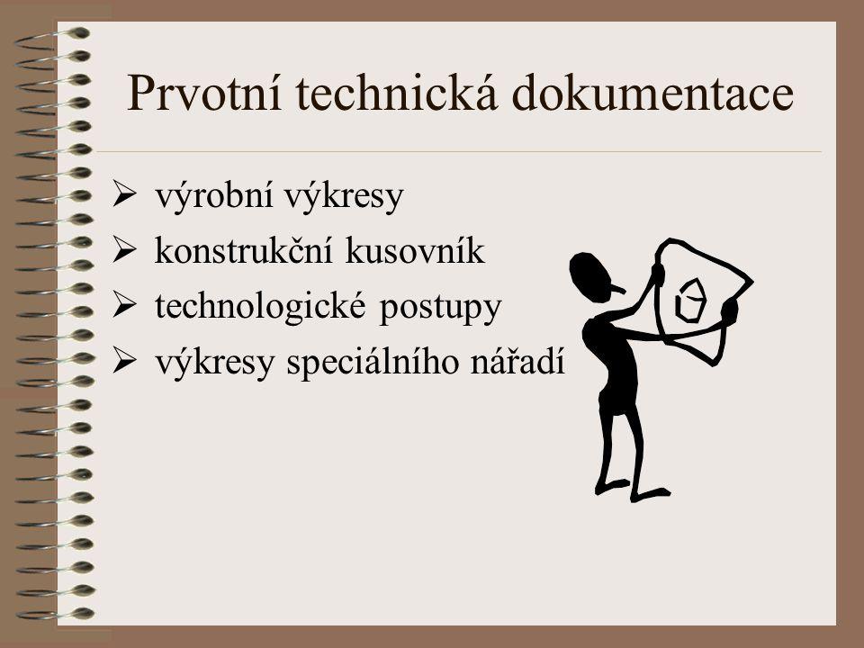Prvotní technická dokumentace  výrobní výkresy  konstrukční kusovník  technologické postupy  výkresy speciálního nářadí