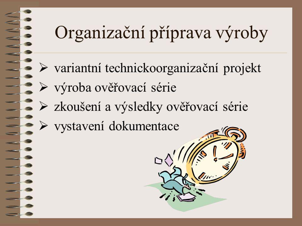 Organizační příprava výroby  variantní technickoorganizační projekt  výroba ověřovací série  zkoušení a výsledky ověřovací série  vystavení dokume