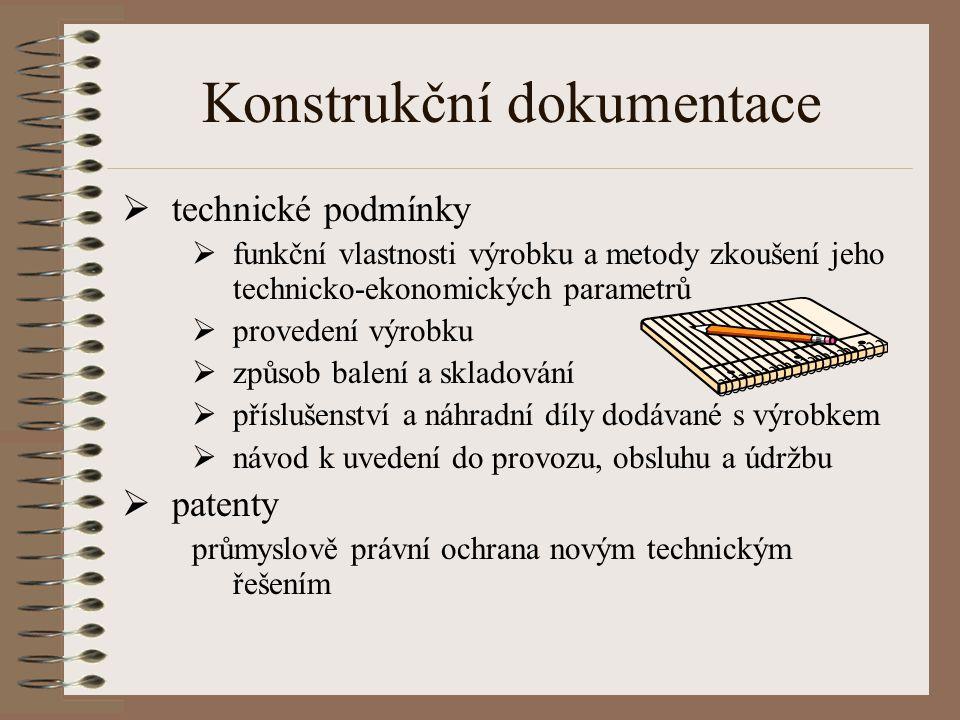 Konstrukční dokumentace  technické podmínky  funkční vlastnosti výrobku a metody zkoušení jeho technicko-ekonomických parametrů  provedení výrobku