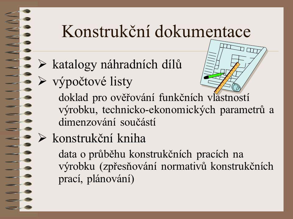 Konstrukční dokumentace  katalogy náhradních dílů  výpočtové listy doklad pro ověřování funkčních vlastností výrobku, technicko-ekonomických paramet