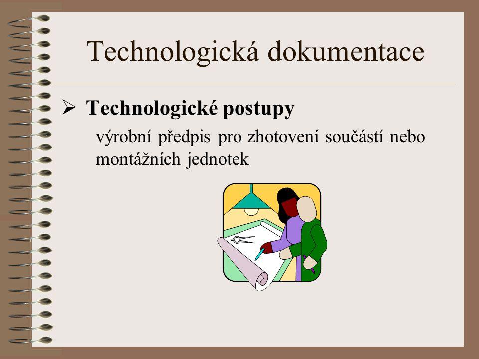Technologická dokumentace  Technologické postupy výrobní předpis pro zhotovení součástí nebo montážních jednotek