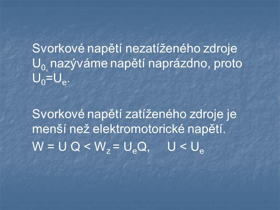 Svorkové napětí nezatíženého zdroje U 0, nazýváme napětí naprázdno, proto U 0 =U e.